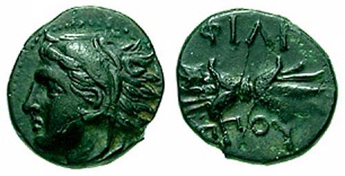 AE10 de Filipo II de Macedonia. ΦΙΛΙ / ΠΠΟΥ SNGANS_0994